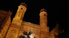 NIGHT SYNAGOGUE BUDAPEST  1 LONGSHOT LOW ANGLE Stock Footage