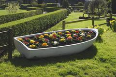 Flowerbed in old boat. Arundel.  Stock Photos