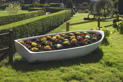 Flowerbed in old boat. Arundel.  - stock photo