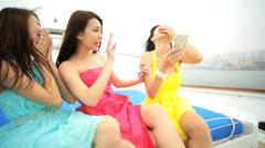 Ethnic Girls Corporate Hospitality Leisure Tourism Yacht Smart Phone Selfie Stock Footage