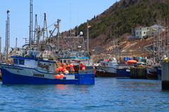 Fishing boats are moored in harbor ready for long weekend Stock Photos