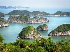 Limestone Islands in Halong Bay, Vietnam - stock photo