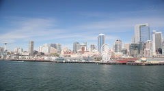 Downtown Seattle from a ferry 2 Stock Footage