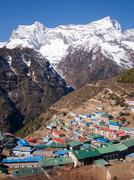 View of Namche Bazaar, Everest Region, Nepal - stock photo