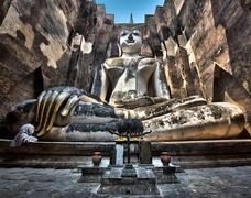 Buddha Statue at Wat Si Chum, Sukhothai Historical Park, Thailand Stock Photos
