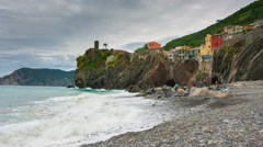 Picturesque view of Vernazza, Laguria, Italy , timelapse Stock Footage