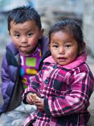 Unidentified Sherpa Children in Lukla, Everest Region, Nepal Stock Photos