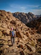 Pilgrims Hiking Down Sacred Mount Sinai, Sinai Peninsula, Egypt Stock Photos