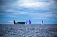 Stock Photo of yacht regatta at the adriatic sea in windy weather