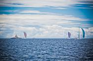 Stock Photo of yacht regatta at the adriatic sea in windy weather.