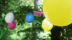 Birthday party with colourful balloons Stock Footage