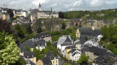 Stock Video Footage of Luxembourg City - view onto Grund from Le Chemin de la Corniche