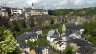 Stock Video Footage of Luxembourg City - view onto Grund from Le Chemin de la Corniche