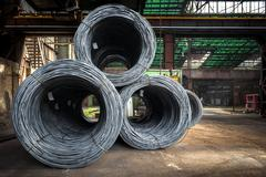 Large coil of Aluminum wire Stock Photos