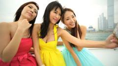 Ethnic Girls Corporate Hospitality Leisure Tourism Yacht Smart Phone Selfie - stock footage