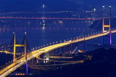 Stock Photo of tsing ma bridge at night, Hong Kong Landmark