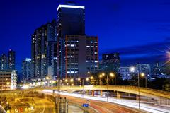 Hong Kong Kowloon city night Stock Photos