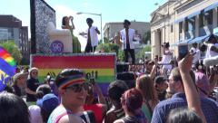 Marriott float in cheering Capital Pride Parade, DC Stock Footage