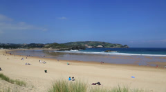 Beach in the Noja, Santander ,Spain Stock Footage