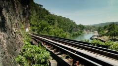 Thailand Tham Kra Sae death railway river kwai Stock Footage