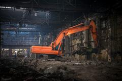 Stock Photo of Industrial interior with bulldozer inside