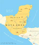 Maya High Culture Area Map Stock Illustration