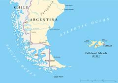 Falkland Islands Policikal Map - stock illustration
