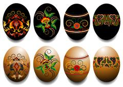 Painted Easter eggs. Stock Illustration