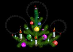 Stock Illustration of Christmas tree with candles on a black background
