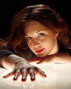 charming brunet woman portrait - stock photo
