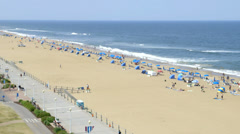 Virginia Beach boardwalk and beach Stock Footage