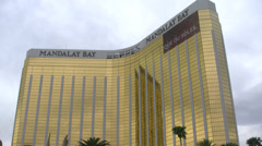 Mandalay Bay Hotel and Casino Las Vegas Low Angle Exterior 4K Stock Footage