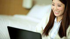 Asian Chinese Businesswoman Hotel Accommodation Webcam Chat Laptop Computer Stock Footage