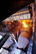 Transporting molten steel Stock Photos