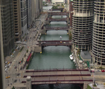 CHICAGO BRIDGES RIVER TIME LAPSE FROM ABOVE Stock Footage