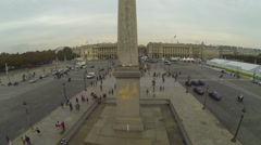 Aerial view tilting up the Luxor Obelisk at Place de la Concorde in Paris Stock Footage