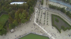 Aerial view over the Tuileries gardens in Paris, France Stock Footage