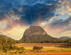 Glass House Mountains National park in Australia with dramatic s Stock Photos