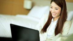 Attractive Female Business Advisor Travel Luxury Apartment Laptop Relaxation - stock footage