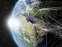 Network over EMEA region - stock photo