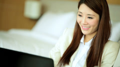 Attractive Female Business Advisor Travel Luxury Apartment Laptop Relaxation Stock Footage