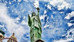 American flag on the statue of liberty - stock footage