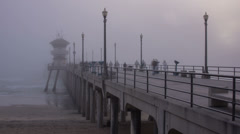 Huntington Beach Pier Time Lapse Fog Stock Footage