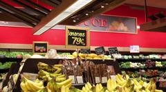 Fresh Bananas In Market Stock Footage