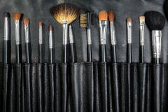 Makeup Tools in a leather case Stock Photos