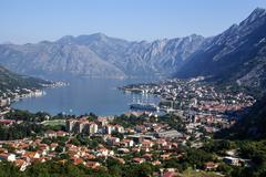 Kotor old town and Boka Kotorska bay, Montenegro Stock Photos