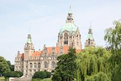 Landscape of the New Town Hall in Hanover, Germany Stock Photos