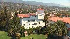 Santa Barbara California Courthouse Courtyard High Shot Stock Footage