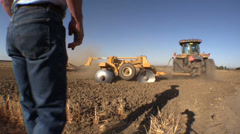 Farmer and tractor Stock Footage