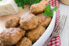 rissole with mould cheese and parsley - stock photo